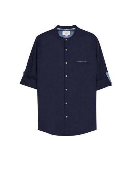 Mandarin collar basic shirt