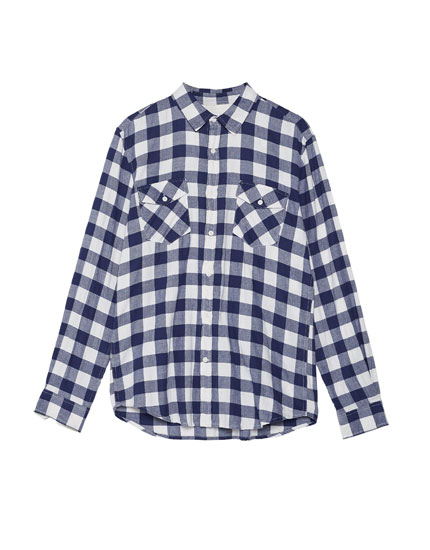Camisa cuadro damero bolsillos