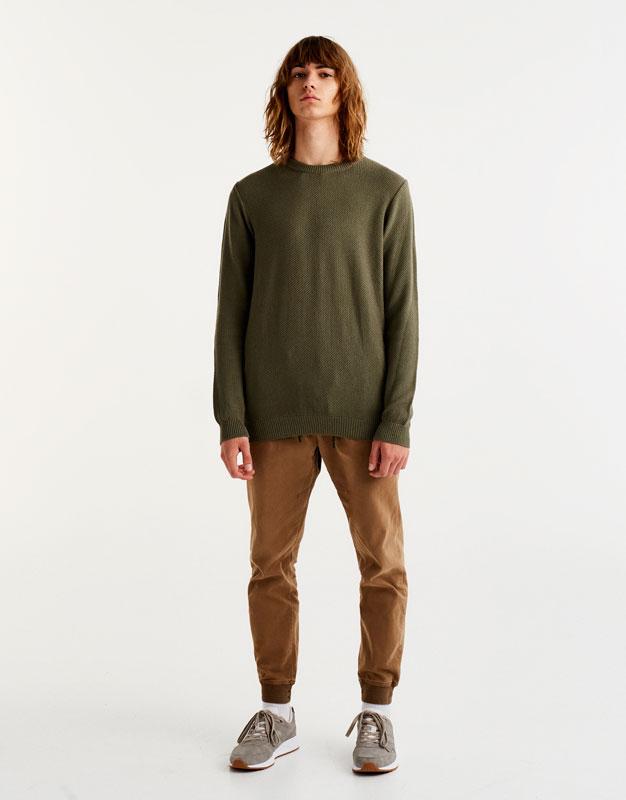 Round-neck textured sweater