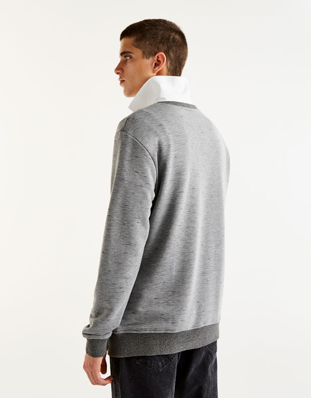 Ribbed sweatshirt with pouch pocket