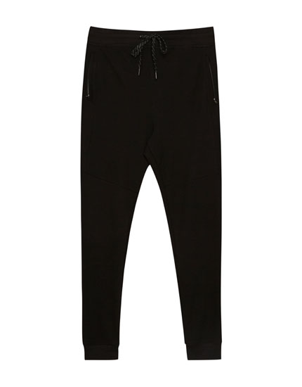 Zipped jogging trousers