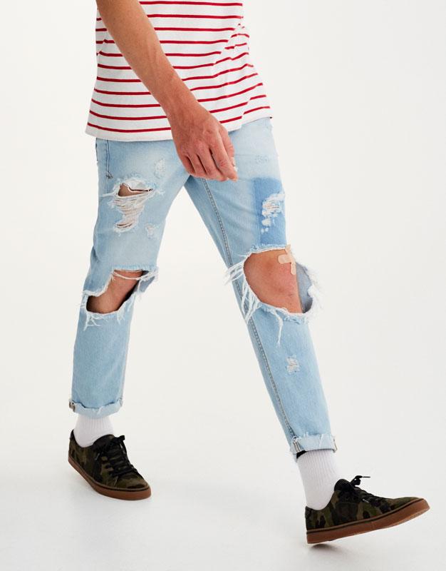 Jeans slim fit rotos cinturón