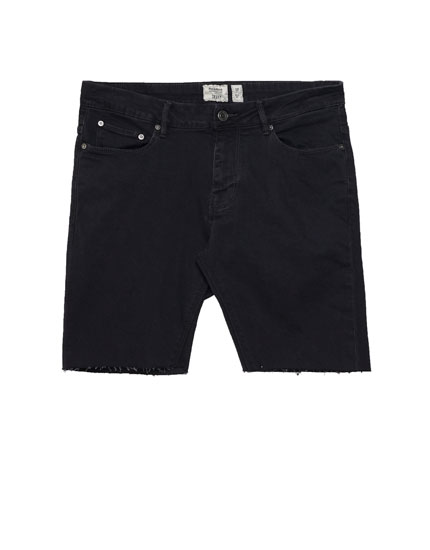 Skinny-Fit Bermudashorts aus Denim
