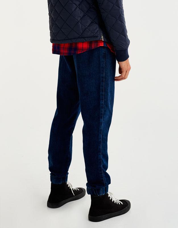 Indigo denim jogging trousers