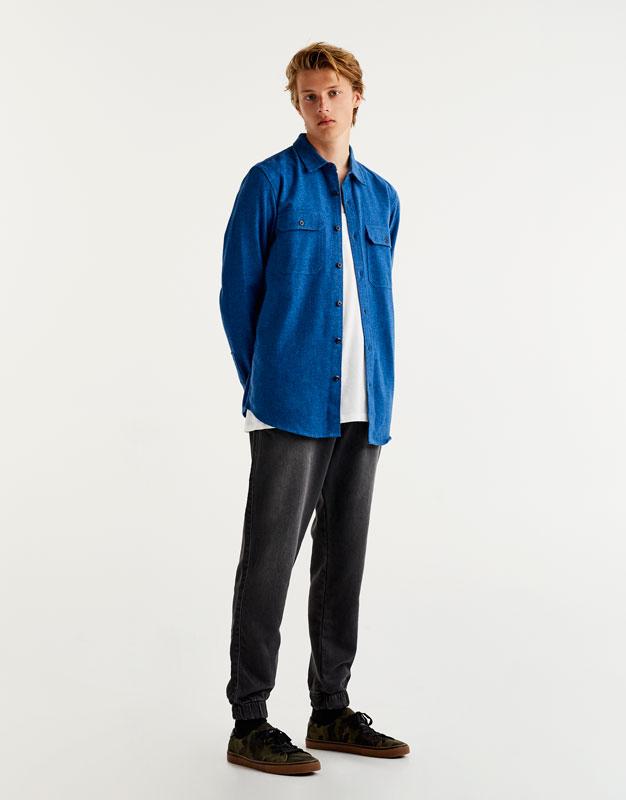 Denim jogging trousers