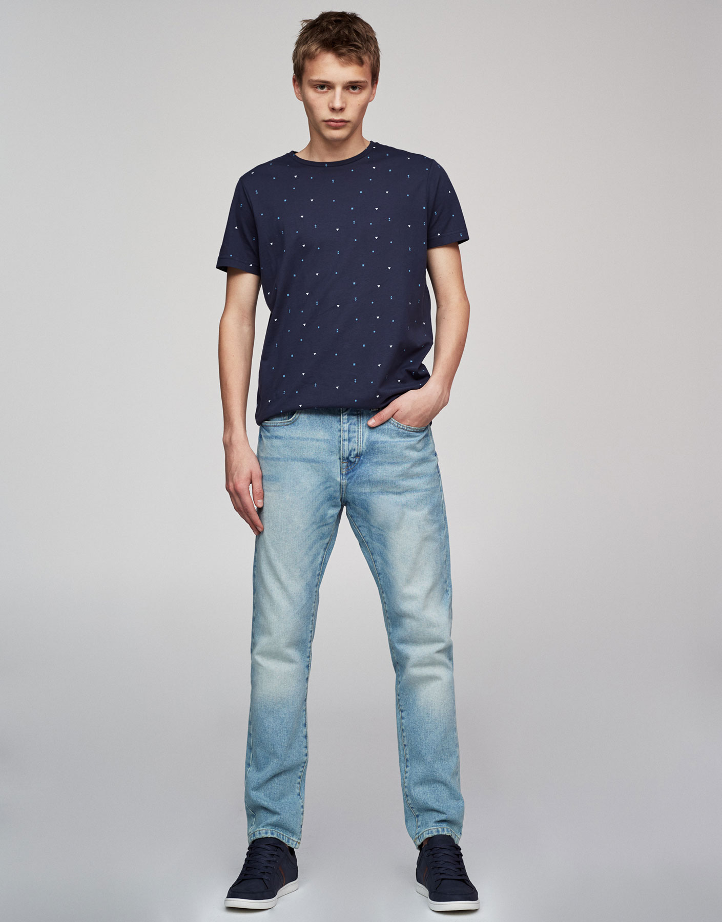 Blaue Regular-Fit-Jeans