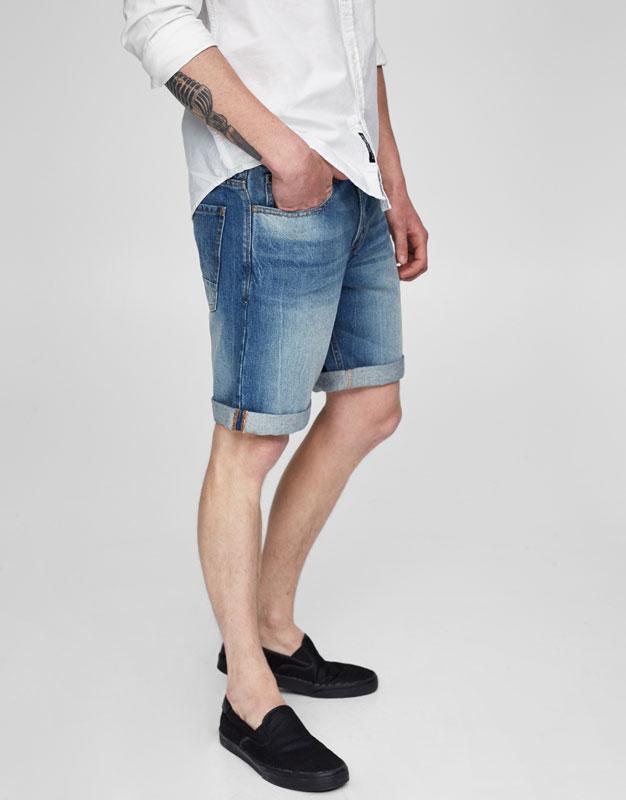 Slim-Fit Basic-Bermudashorts aus Denim