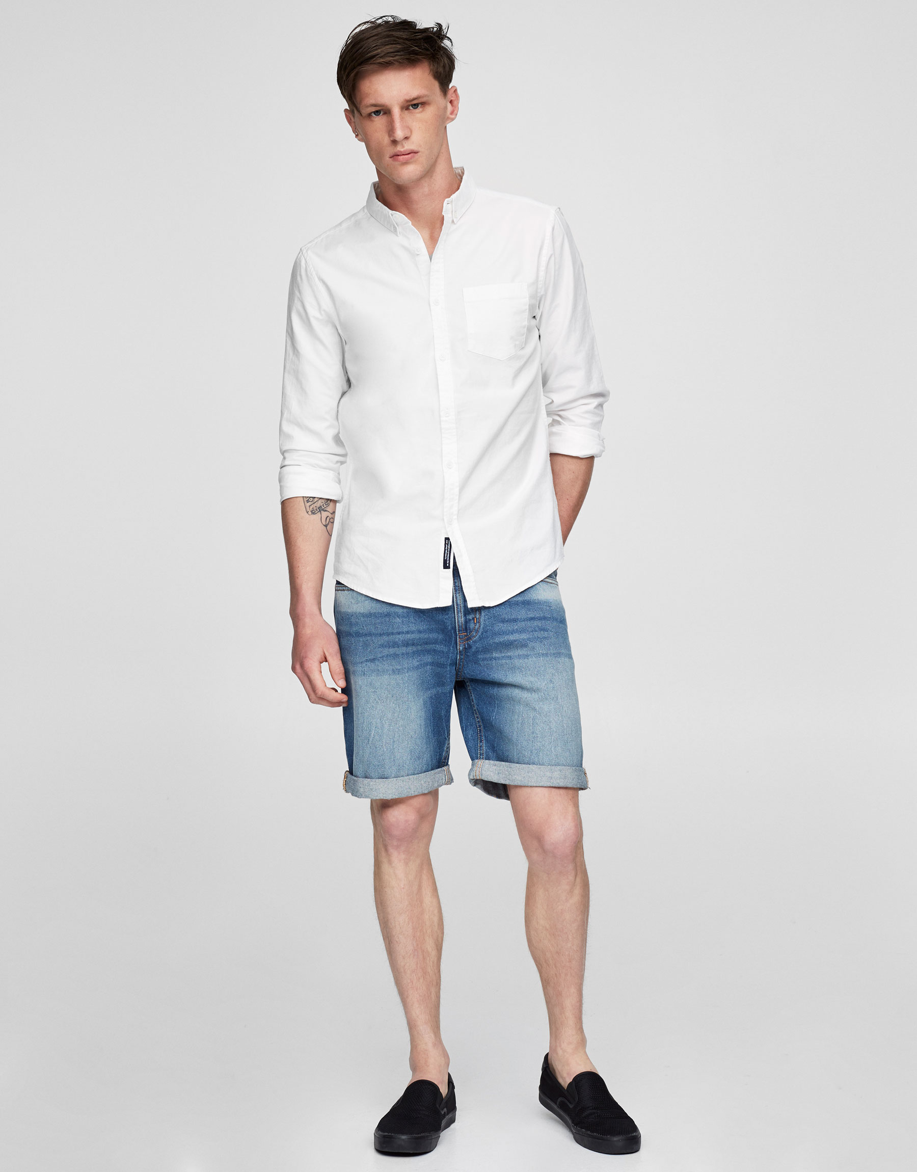 Basic denim slim fit Bermuda shorts