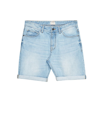 Denim-Bermudashorts im Bleach-Look