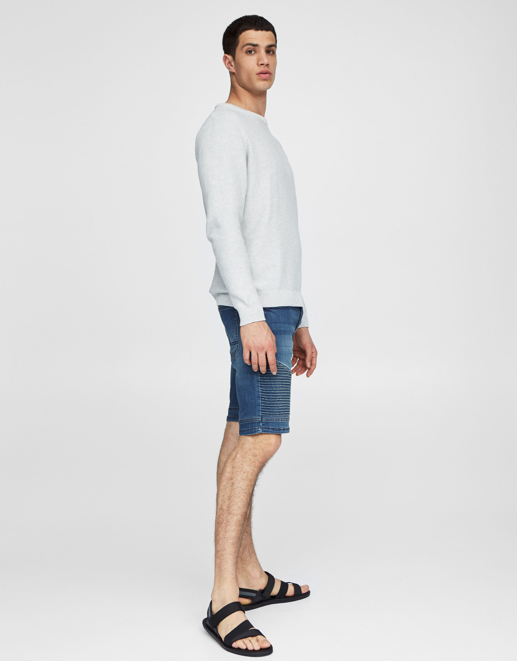 Fitted denim Bermuda shorts