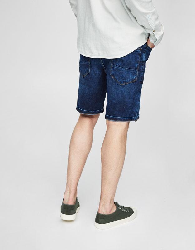 Dark blue denim Bermuda shorts