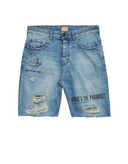Denim Bermuda shorts with slogan print