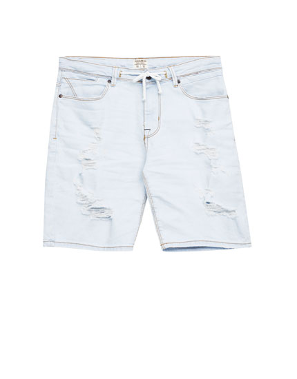 Denim-Bermudashorts im Bleach-Look mit Tunnelzug