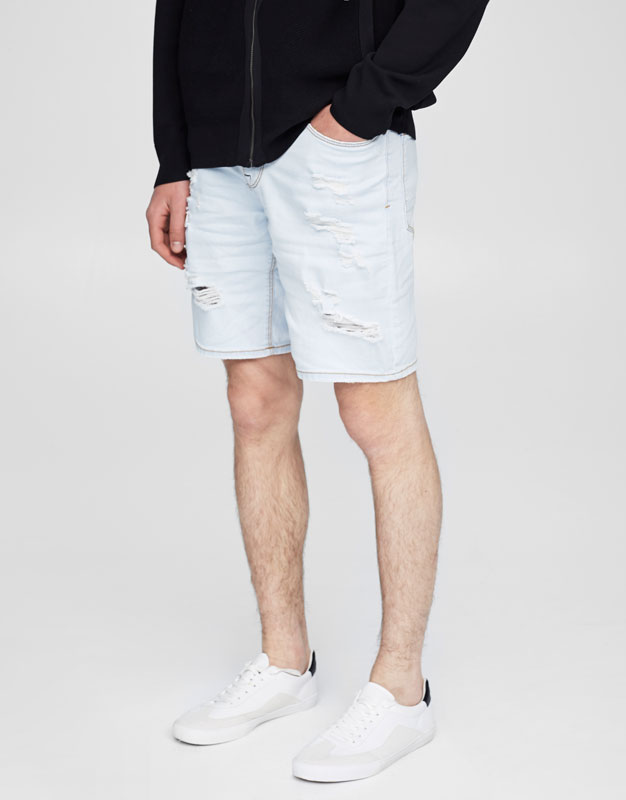 Bleached denim bermuda shorts with drawstring