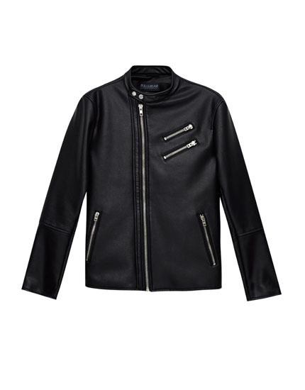 Slim fit biker jacket with zips