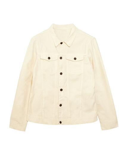 Jeansjacke in gebrochenem Weiß