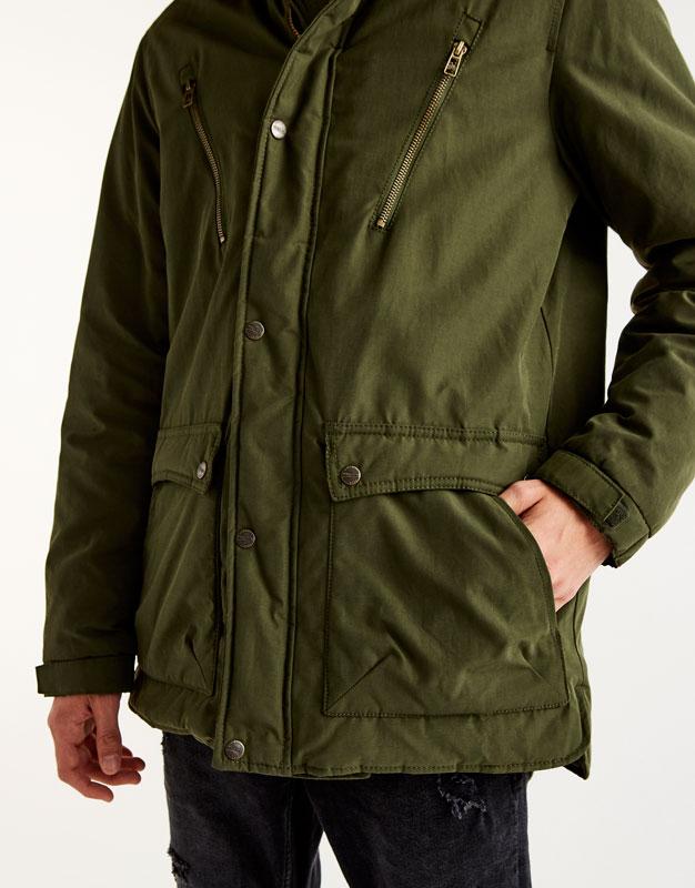 Fleece-lined parka with hood