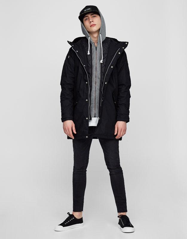 Long hooded parka - Coats and jackets - Clothing - Man - PULL&BEAR ...
