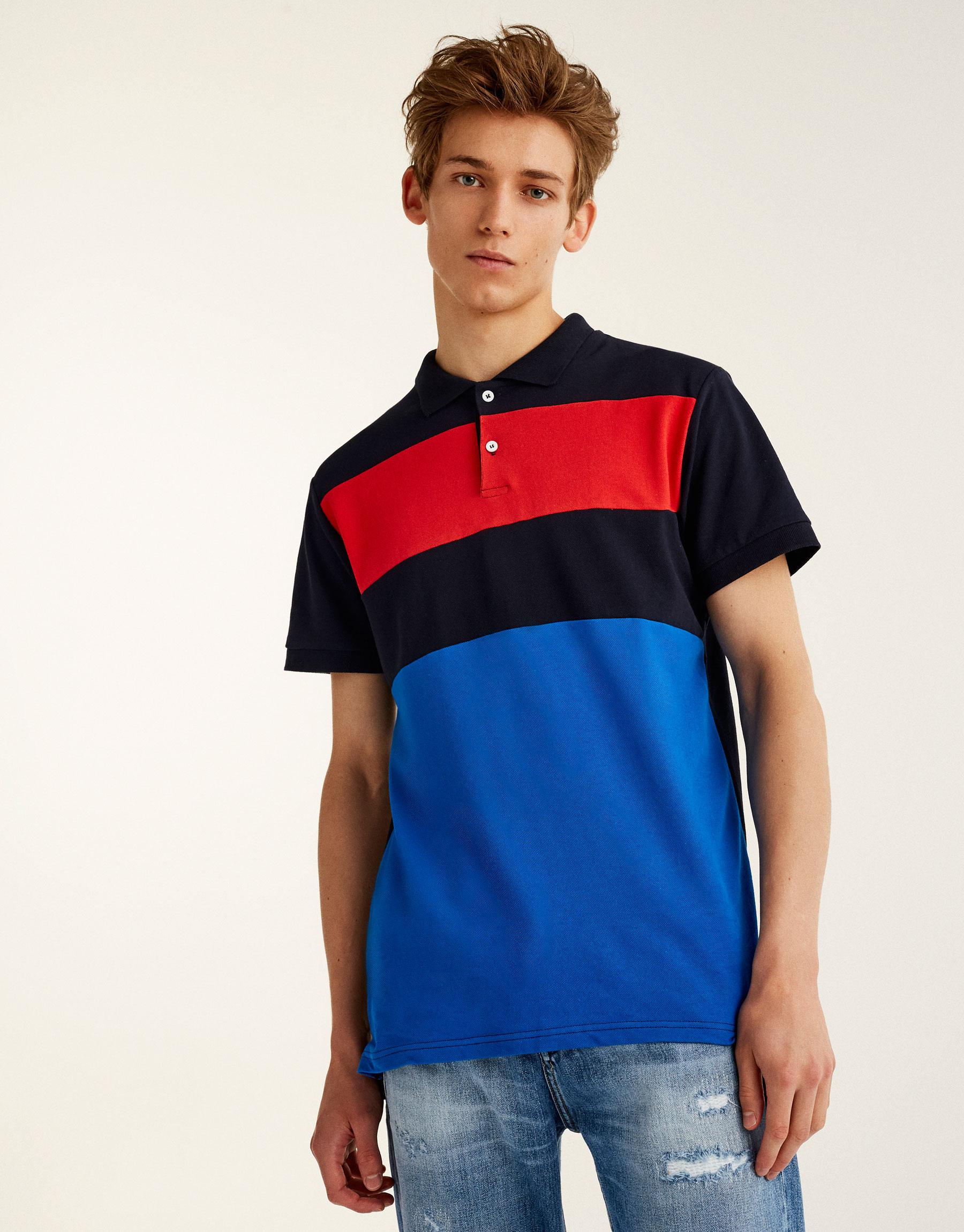 Poloskjorte med farvede paneler