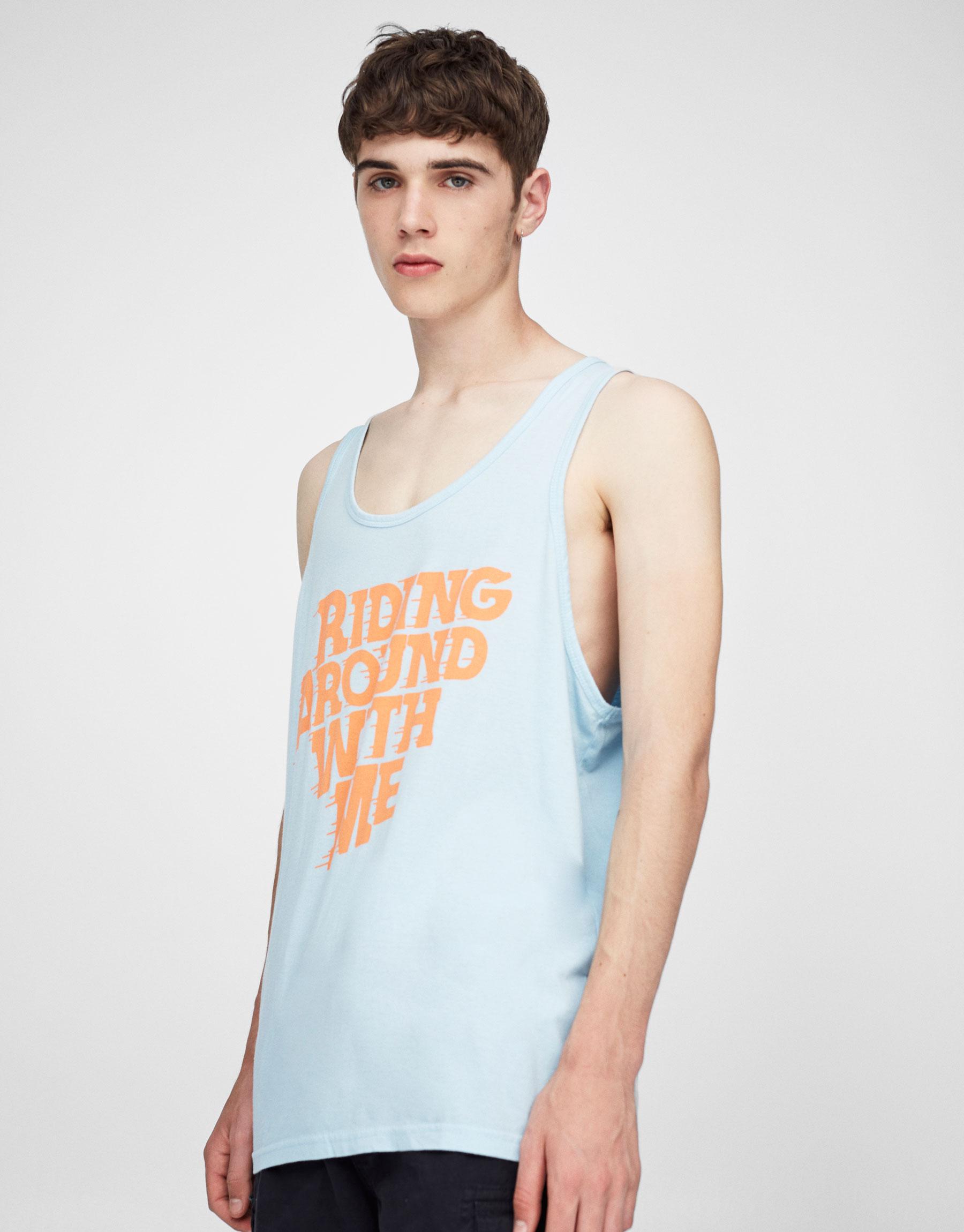 Slogan print tank top