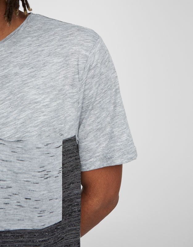 Grey panelled T-shirt with pocket