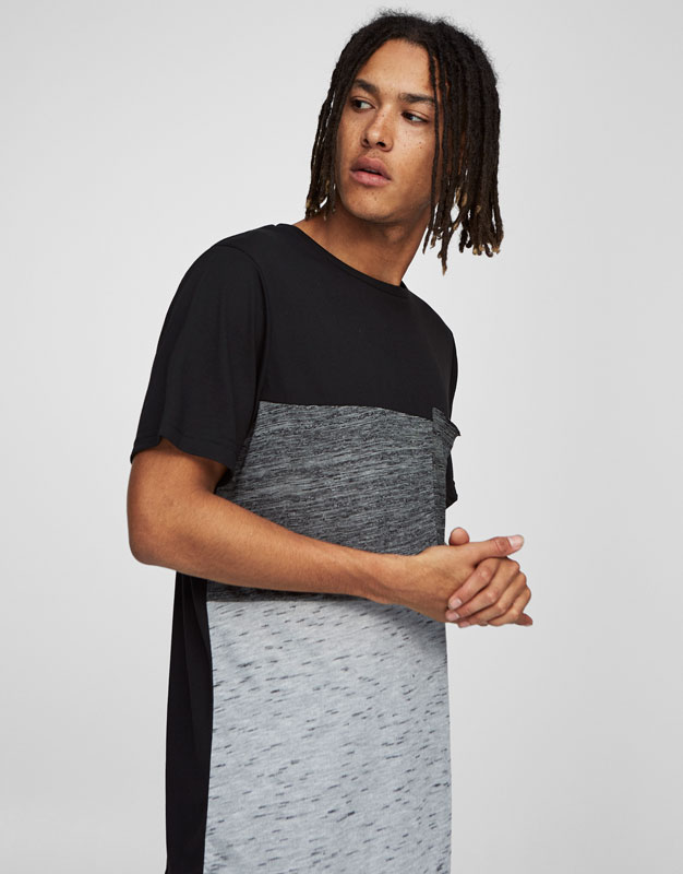 Panelled T-shirt with pocket