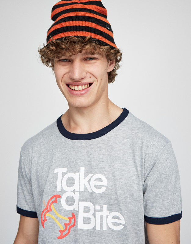 Printed T-shirt with contrasting collar and sleeves