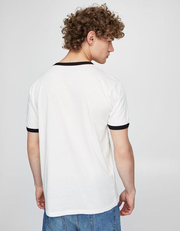 T-shirt pizza col et manches contrastants