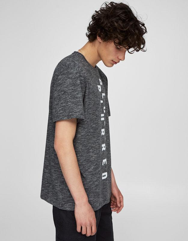 'Blurred' vertical slogan print T-shirt
