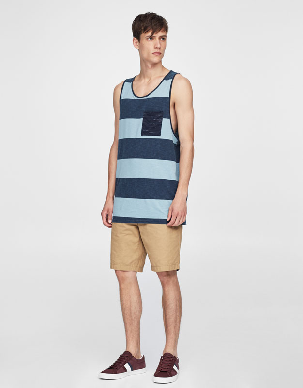 Striped tank top with contrasting pocket