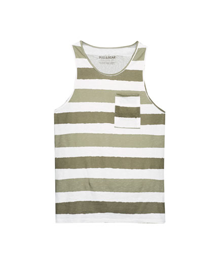Tank top with khaki stripes