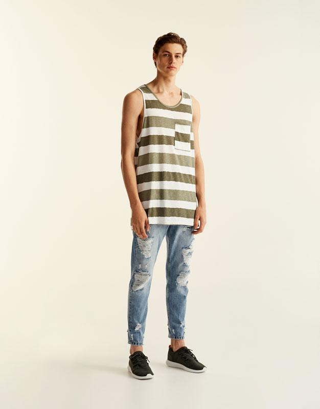 Camiseta tirantes rayas kaki