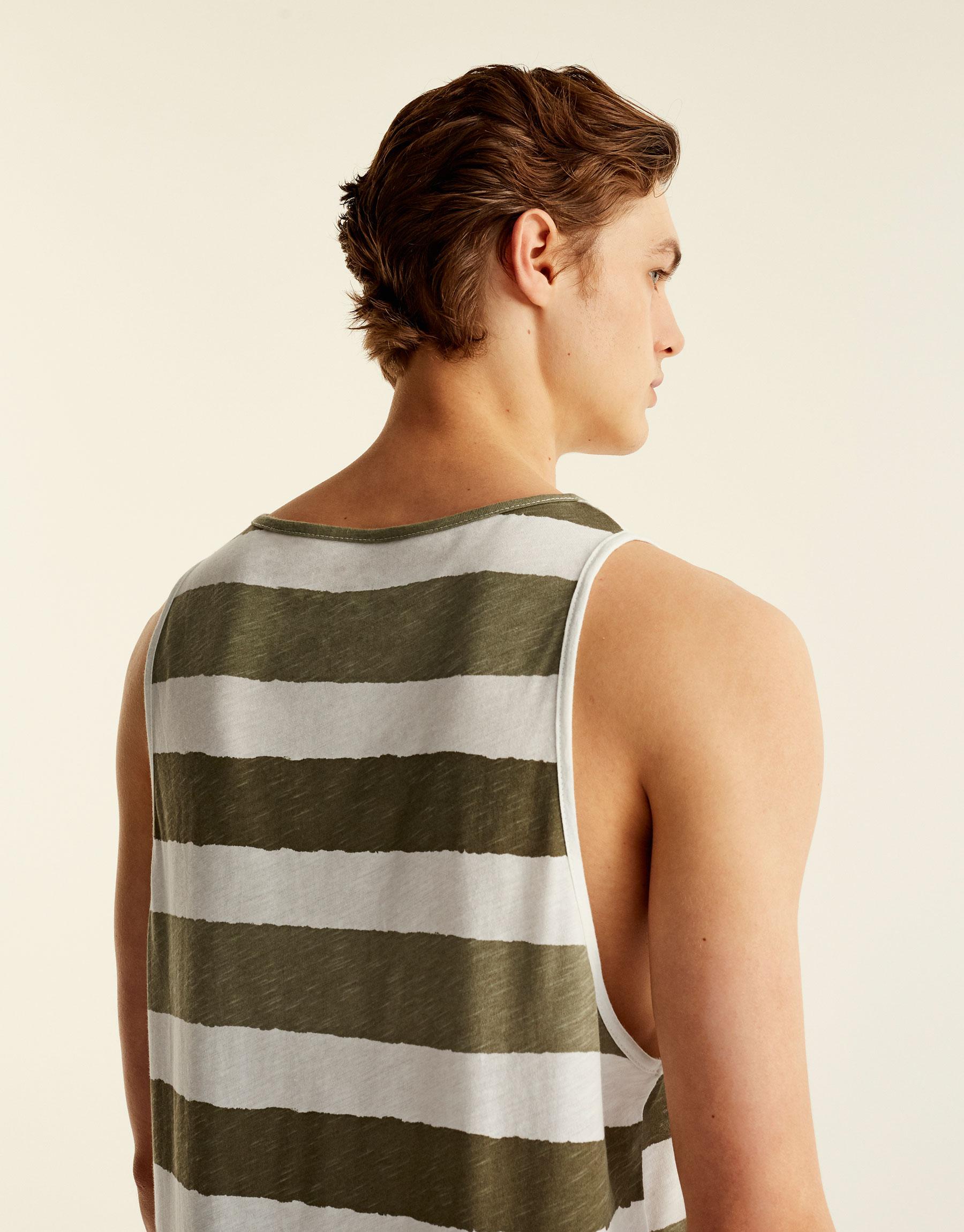 Tank top with khaki stripes