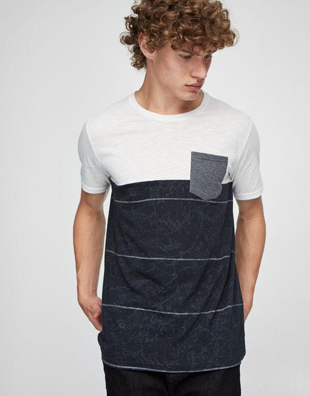 T-Shirt mit Blockstreifen und Brusttasche im Kontrast