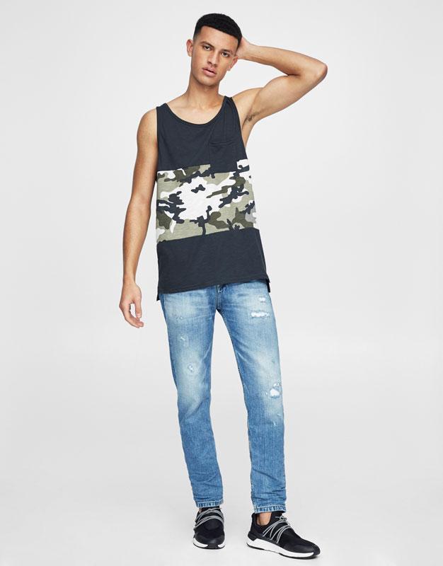 Camiseta tirantes paneles camuflaje