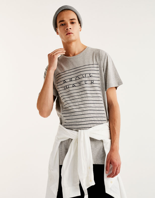 T-shirt with embroidered stripes