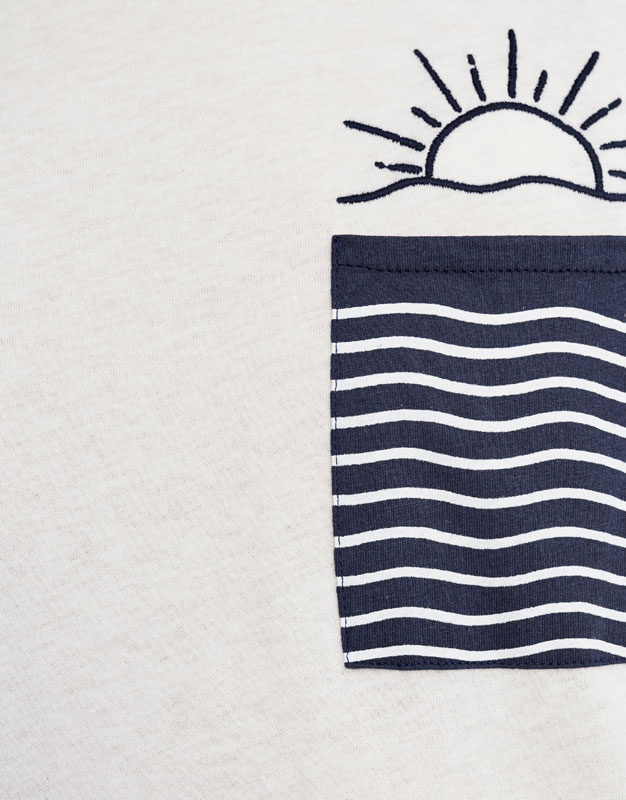 T-shirt with embroidered sun on pocket