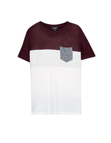Camiseta paneles bolsillo contraste