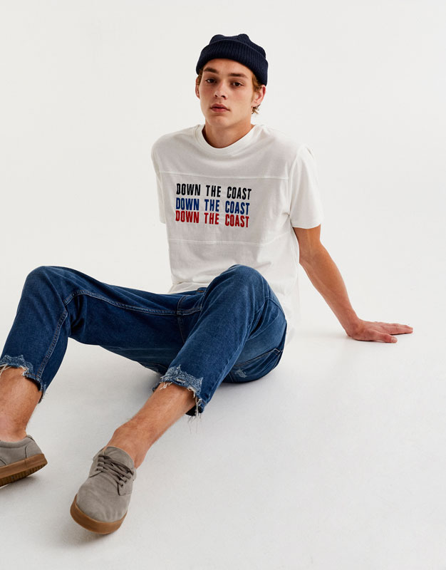 Embroidered text T-shirt