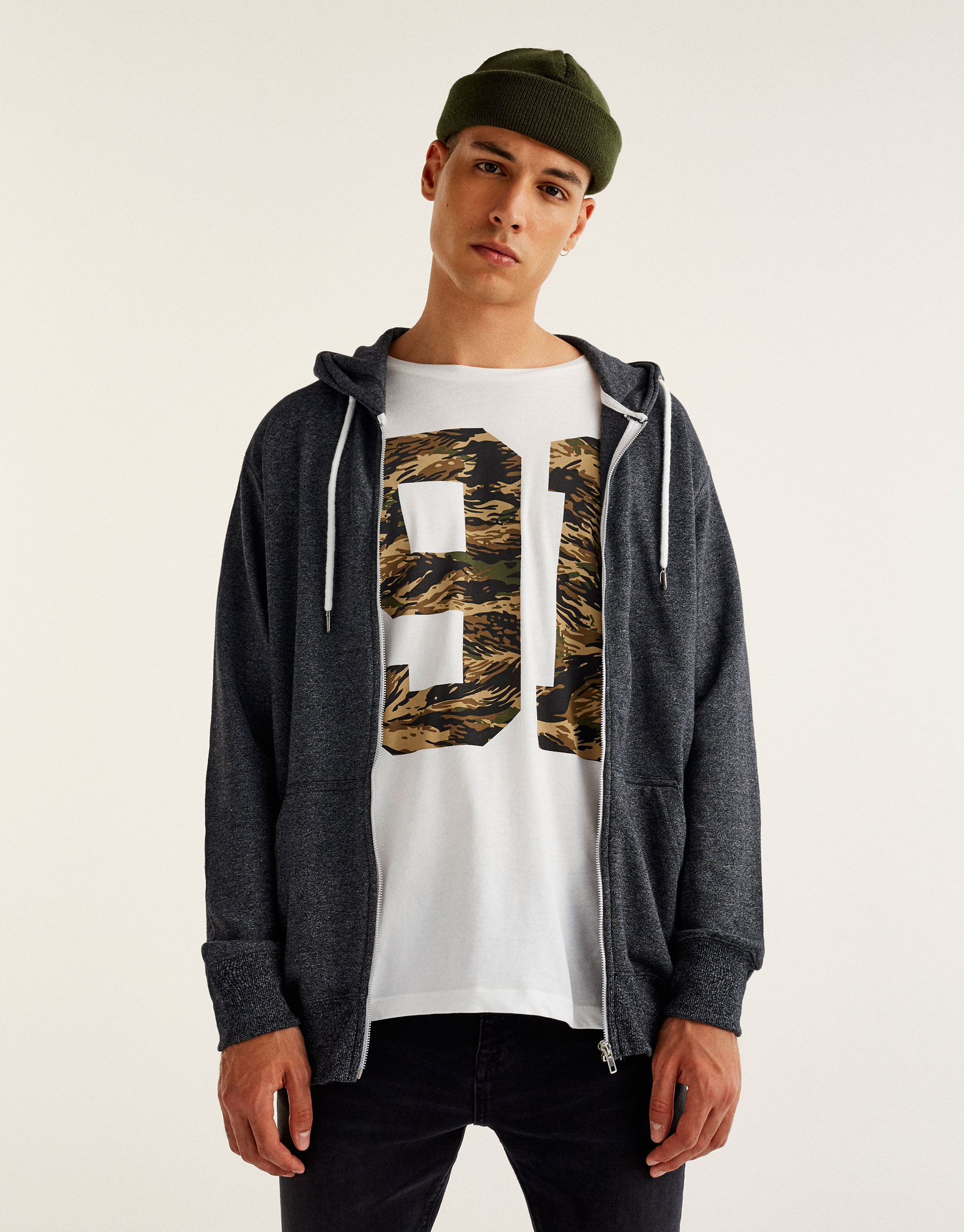 T-shirt with printed camouflage numbers