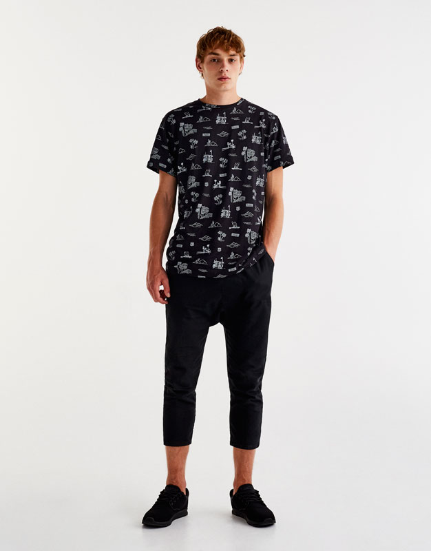 Skater T-shirt with all over print