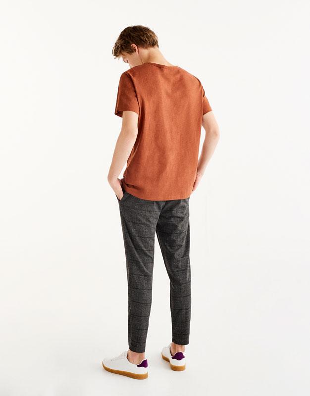 Slub knit textured weave cotton T-shirt
