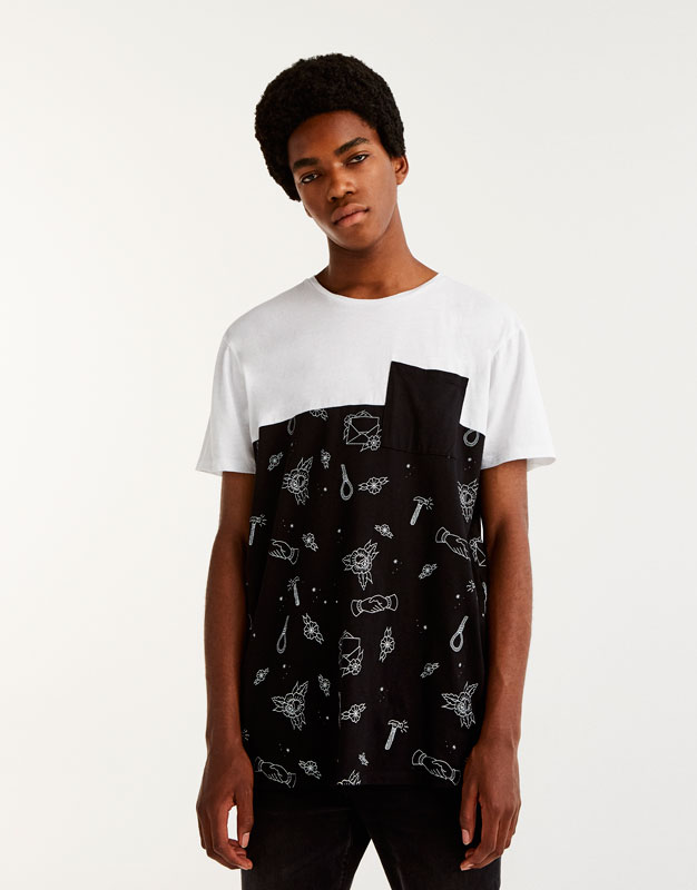 Panelled illustrations T-shirt