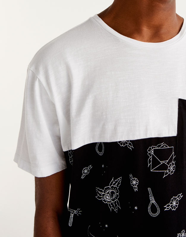 Panelled illustrations T-shirt