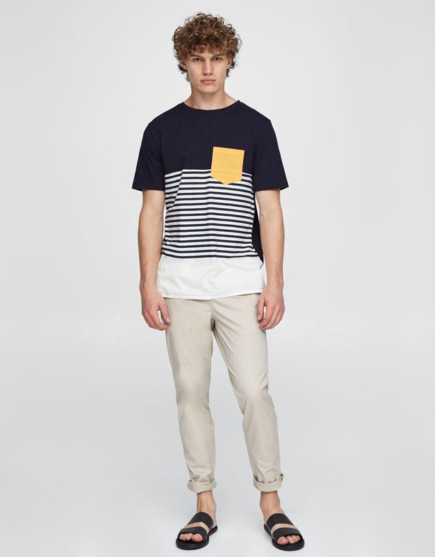 Camiseta rayas bolsillo contraste