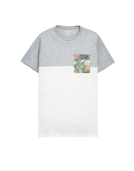 T-shirt with floral print pocket