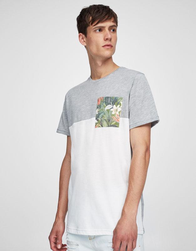 T-shirt poche imprimé floral