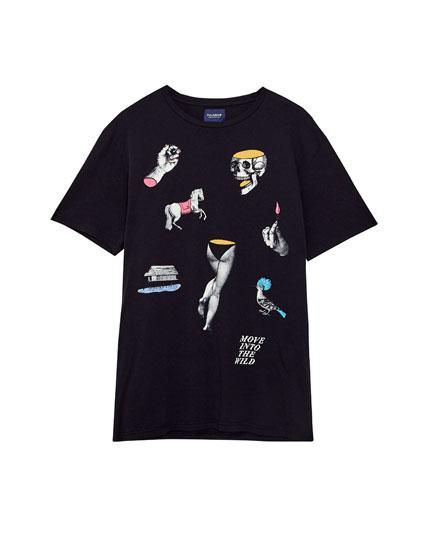 T-shirt with motif print