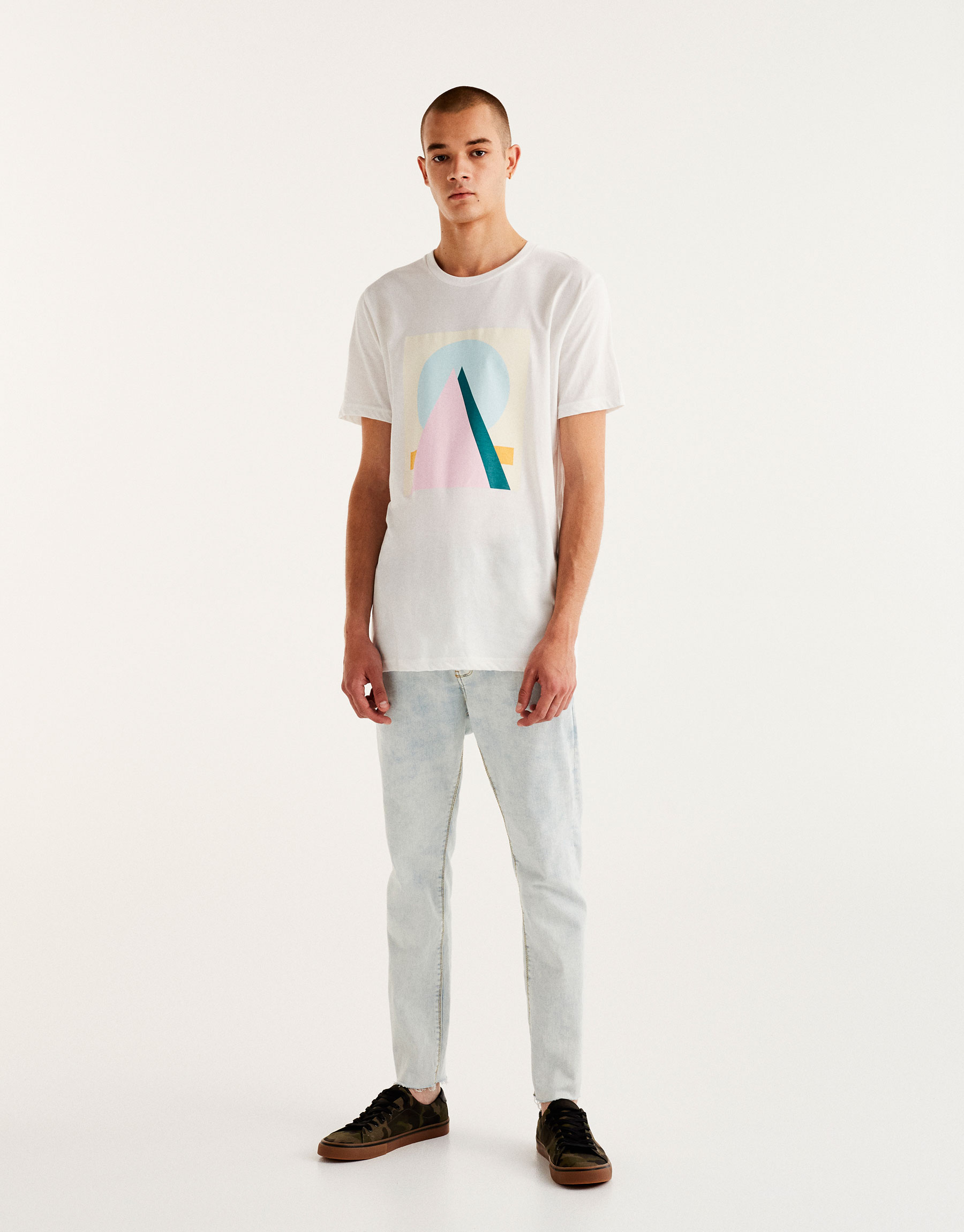 T-shirt with geometric pastel print