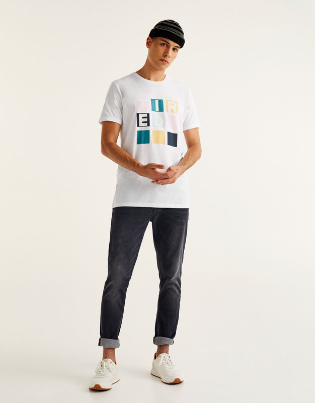 T-shirt with printed pastel squares